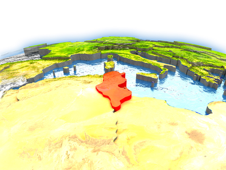 Country of Tunisia on model of Earth. 3D illustration. Stock Photo