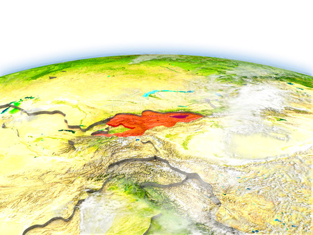 Country of Kyrgyzstan on model of Earth. 3D illustration.