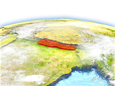 Country of Nepal on model of Earth. 3D illustration. Stock Photo