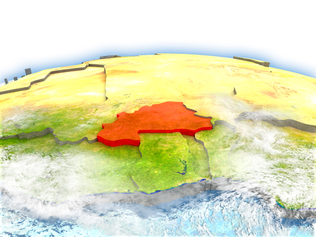 Country of Burkina Faso on model of Earth. 3D illustration.