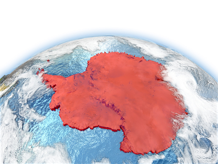 Country of Antarctica on model of Earth. 3D illustration.