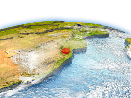 Country of Swaziland on model of Earth. 3D illustration. Stock Photo