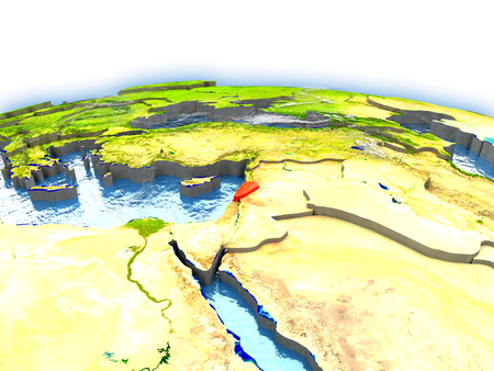 Country of Lebanon on model of Earth. 3D illustration.