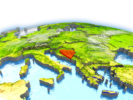 Country of Bosnia on model of Earth. 3D illustration.