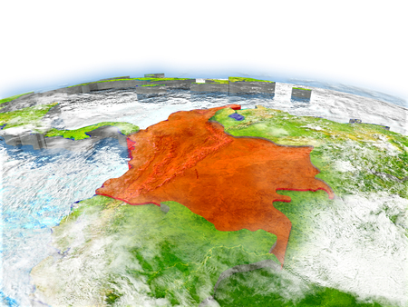 Country of Colombia on model of Earth. 3D illustration. Elements of this image furnished by NASA. Reklamní fotografie - 77673326