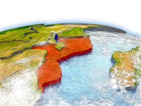 Land von Mosambik auf Modell der Erde. 3D Abbildung. Standard-Bild - 77847391