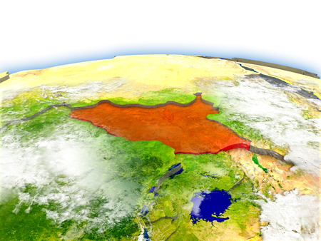 Country of South Sudan on model of Earth. 3D illustration. Elements of this image furnished by NASA. Stock Photo