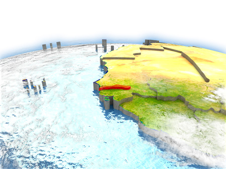 gambia: Country of Gambia on model of Earth. 3D illustration. Stock Photo