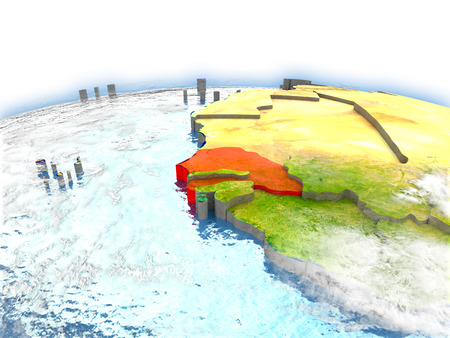 Country of Senegal on model of Earth. 3D illustration. Elements of this image furnished by NASA.