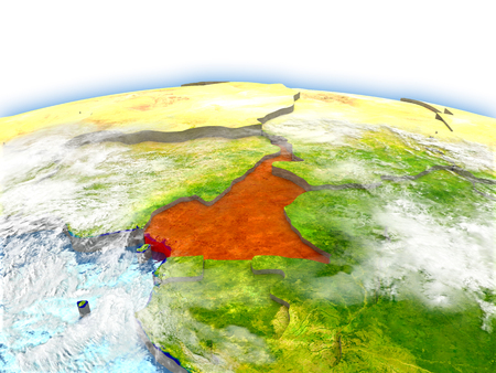 Country of Cameroon on model of Earth. 3D illustration. Elements of this image furnished by NASA. Stock Photo