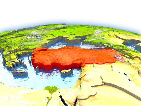 Country of Turkey on model of Earth. 3D illustration. Stock Photo