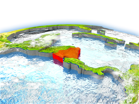 Country of Nicaragua on model of Earth. 3D illustration. Elements of this image furnished by NASA.