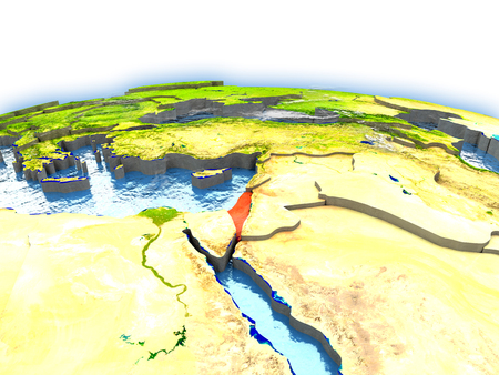 Country of Israel on model of Earth. 3D illustration. Stock Photo