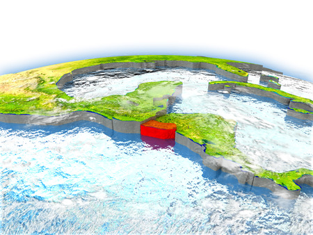 Country of El Salvador on model of Earth. 3D illustration.