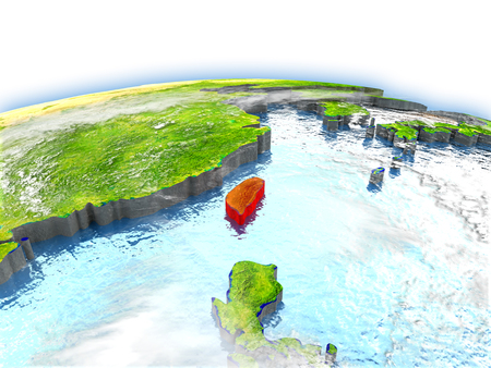 Country of Taiwan on model of Earth. 3D illustration. Stock Photo