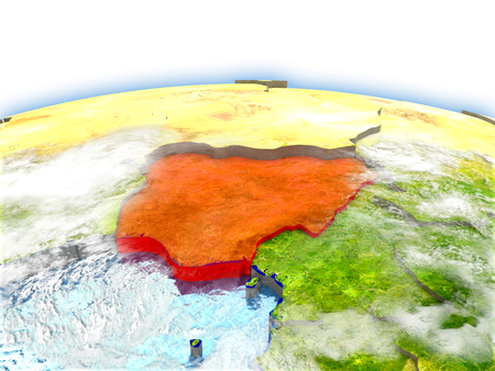 Country of Nigeria on model of Earth. 3D illustration.