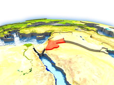 Country of Jordan on model of Earth. 3D illustration.