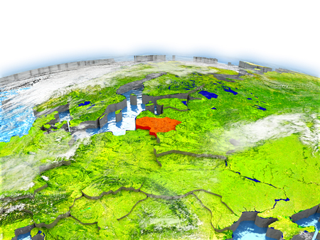 Country of Lithuania on model of Earth. 3D illustration.