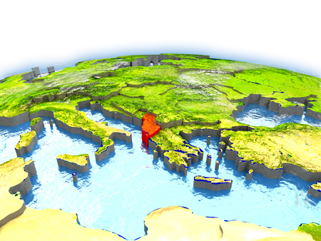Country of Albania on model of Earth. 3D illustration.
