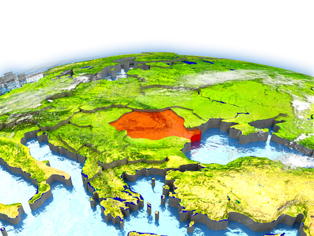 Pays de la Roumanie sur le modèle de la Terre. Illustration 3D Banque d'images - 77847400