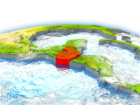 Country of Guatemala on model of Earth. 3D illustration.