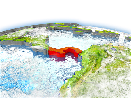 panamanian: Country of Panama on model of Earth. 3D illustration.
