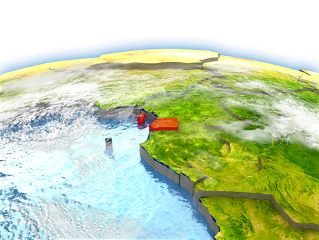 Country of Equatorial Guinea on model of Earth. 3D illustration.