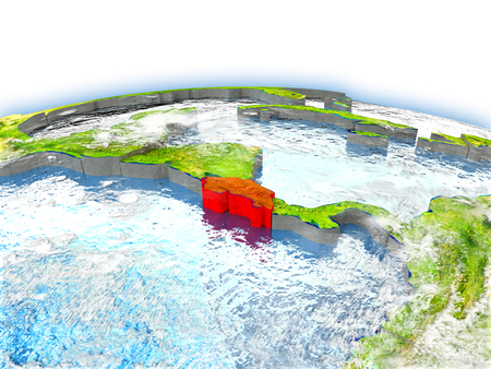 Country of Costa Rica on model of Earth. 3D illustration. Elements of this image furnished by NASA.