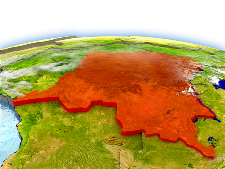 Country of Democratic Republic of Congo on model of Earth. 3D illustration.