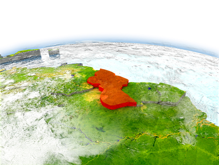 Country of Guyana on model of Earth. 3D illustration.