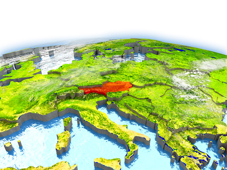 Country of Austria on model of Earth. 3D illustration. Stock Photo