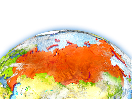 Country of Russia on model of Earth. 3D illustration.