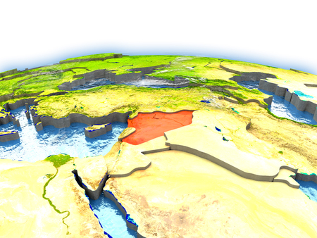 Country of Syria on model of Earth. 3D illustration.