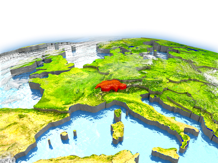 Country of Switzerland on model of Earth. 3D illustration.