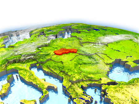 Country of Slovakia on model of Earth. 3D illustration.