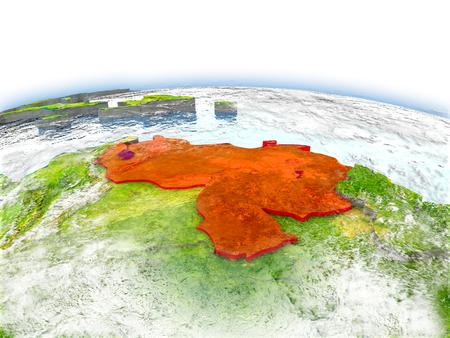 Country of Venezuela on model of Earth. 3D illustration.
