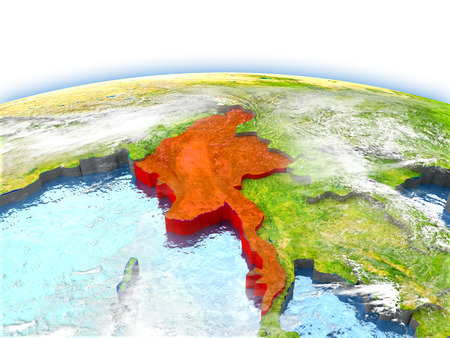 Country of Myanmar on model of Earth. 3D illustration.