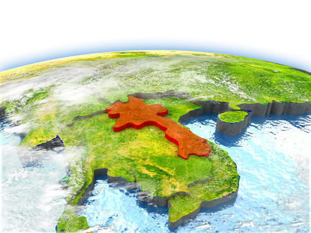 Country of Laos on model of Earth. 3D illustration. Stock Photo