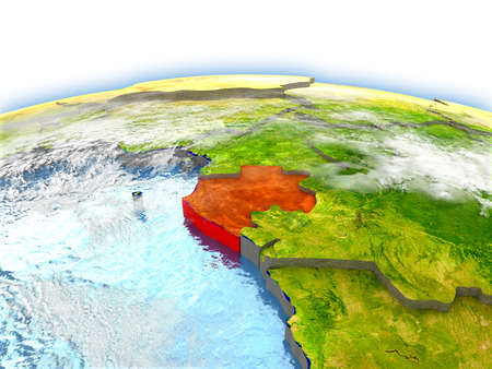 Country of Gabon on model of Earth. 3D illustration.