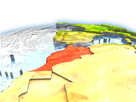 Country of Morocco on model of Earth. 3D illustration. Stock Photo