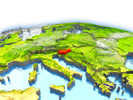 Country of Slovenia on model of Earth. 3D illustration. Stock Photo
