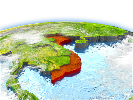 Country of Vietnam on model of Earth. 3D illustration.