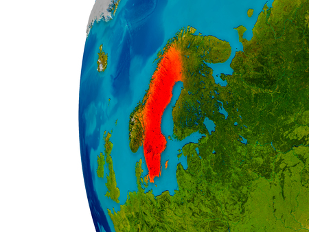 Sweden highlighted in red on detailed model of planet Earth. 3D illustration.