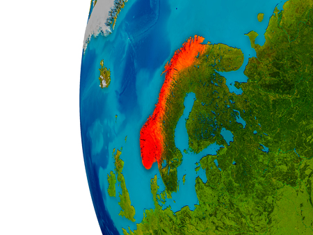 detailed image: Norway highlighted in red on detailed model of planet Earth. 3D illustration. Elements of this image furnished by NASA.
