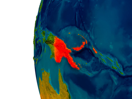 Papua New Guinea highlighted in red on detailed model of planet Earth. 3D illustration.