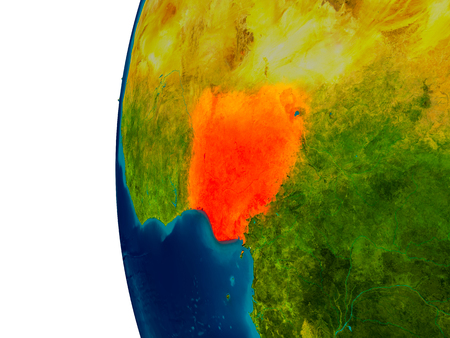 Nigeria highlighted in red on detailed model of planet Earth. 3D illustration.