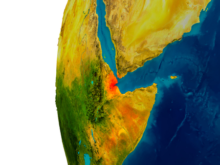 Djibouti highlighted in red on detailed model of planet Earth. 3D illustration. Elements of this image furnished by NASA.