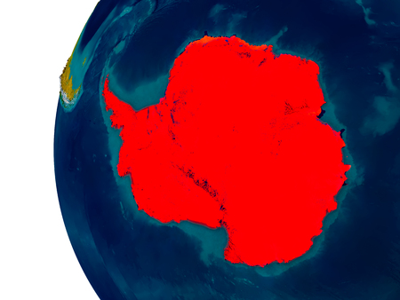 antarctic: Antarctica highlighted in red on detailed model of planet Earth. 3D illustration.