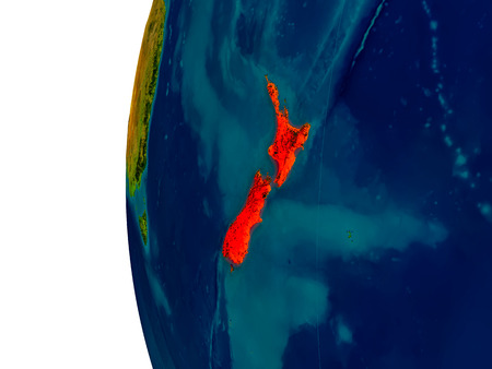 New Zealand highlighted in red on detailed model of planet Earth. 3D illustration. Stock Photo