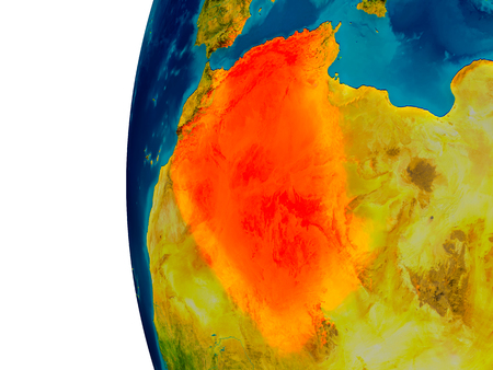 Algeria highlighted in red on detailed model of planet Earth. 3D illustration. Elements of this image furnished by NASA.
